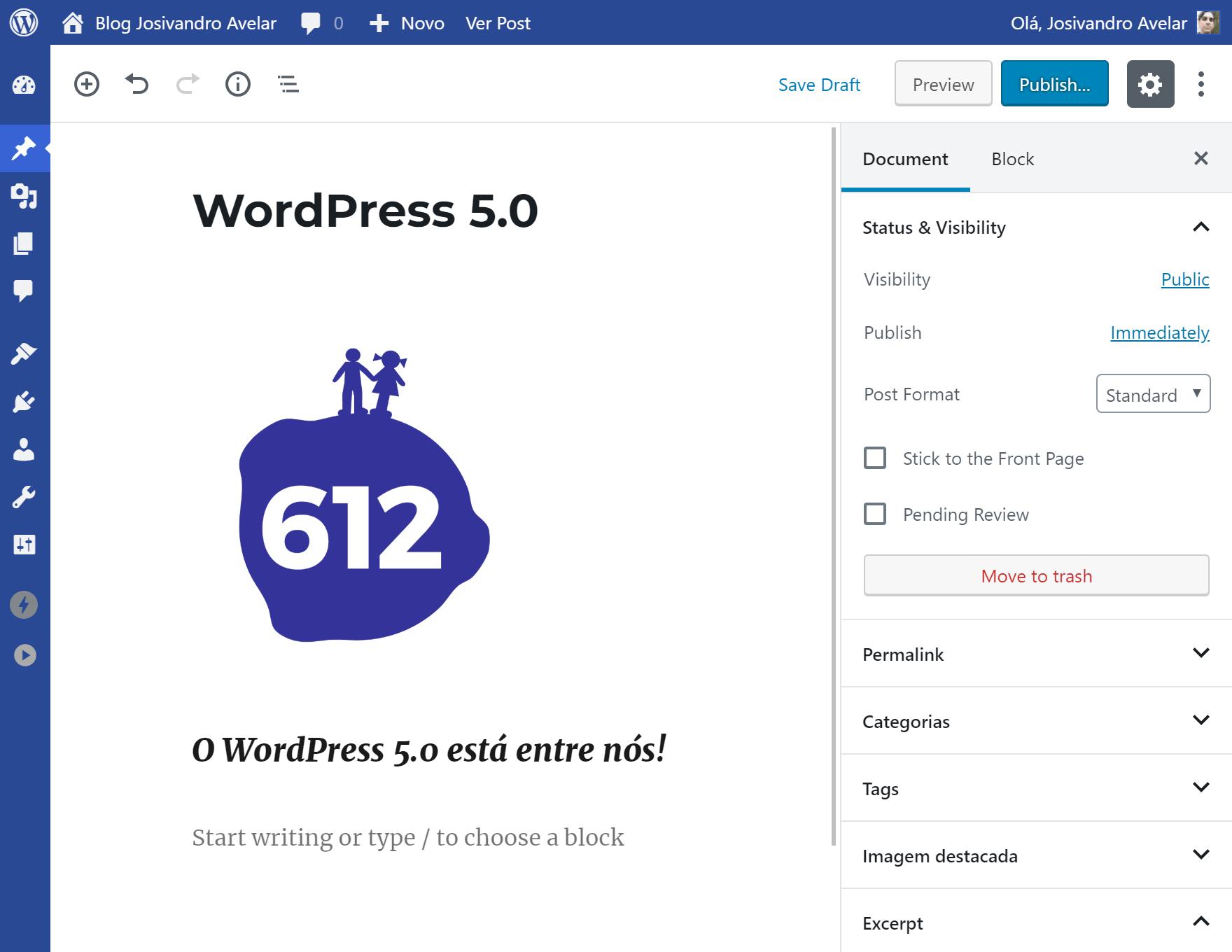 O WordPress 5.0 está entre nós