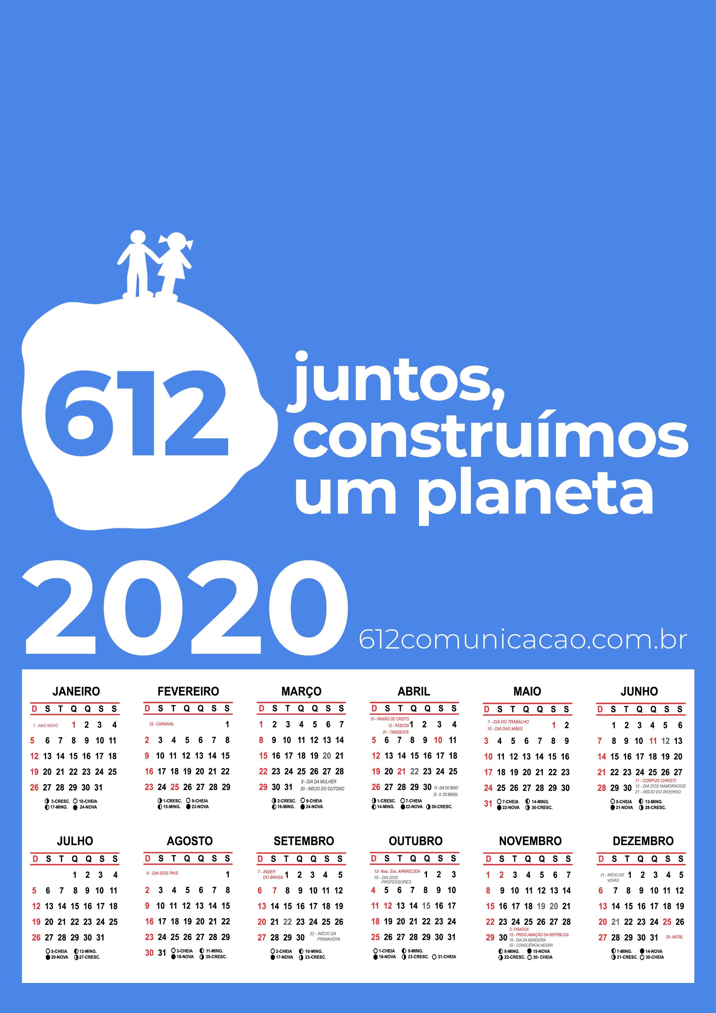 Chegou o Calendário 2020 da 612 Comunicação!